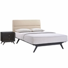 Modway Addison 2 Piece Queen Upholstered Fabric Wood Bedroom Set in Black Beige MY-MOD-5262-BLK-BEI-SET