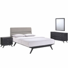 Modway Addison 4 Piece Queen Upholstered Fabric Wood Bedroom Set in Black Gray MY-MOD-5266-BLK-GRY-SET