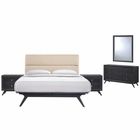 Modway Addison 5 Piece Queen Upholstered Fabric Wood Bedroom Set in Black Beige MY-MOD-5267-BLK-BEI-SET
