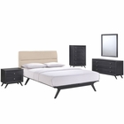 Modway Addison 5 Piece Queen Upholstered Fabric Wood Bedroom Set in Black Beige MY-MOD-5341-BLK-BEI-SET