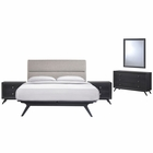 Modway Addison 5 Piece Queen Upholstered Fabric Wood Bedroom Set in Black Gray MY-MOD-5267-BLK-GRY-SET