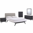 Modway Addison 5 Piece Queen Upholstered Fabric Wood Bedroom Set in Black Gray MY-MOD-5341-BLK-GRY-SET