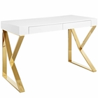 Modway Adjacent Stainless Steel Desk in White Gold MY-EEI-3031-WHI