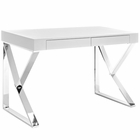 Modway Adjacent Stainless Steel Desk in White MY-EEI-2047-WHI-SET
