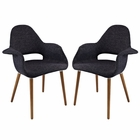 Modway Aegis Dining Armchair Upholstered Fabric Set of 2 in Black MY-EEI-1329-BLK