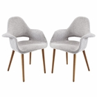 Modway Aegis Dining Armchair Upholstered Fabric Set of 2 in Light Gray MY-EEI-1329-LGR