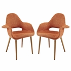 Modway Aegis Dining Armchair Upholstered Fabric Set of 2 in Orange MY-EEI-1329-ORA