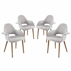 Modway Aegis Dining Armchair Upholstered Fabric Set of 4 in Light Gray MY-EEI-1330-LGR