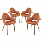 Modway Aegis Dining Armchair Upholstered Fabric Set of 4 in Orange MY-EEI-1330-ORA