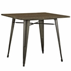 "Modway Alacrity 36"" Square Bamboo Top and Steel Dining Table in Brown MY-EEI-2036-BRN"