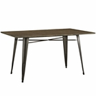 "Modway Alacrity 59"" Rectangle Bamboo Top and Steel Dining Table in Brown MY-EEI-2034-BRN"