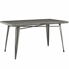 Modway Alacrity Rectangle Steel Dining Table in Gunmetal MY-EEI-2033-GME