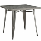 Modway Alacrity Square Steel Dining Table in Gunmetal MY-EEI-2035-GME