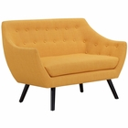 Modway Allegory Upholstered Fabric Loveseat in Mustard MY-EEI-2550-MUS