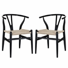 Modway Amish Dining Armchair Beech Wood Set of 2 in Black MY-EEI-1319-BLK