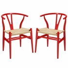 Modway Amish Dining Armchair Beech Wood Set of 2 in Red MY-EEI-1319-RED