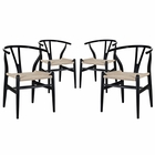 Modway Amish Dining Armchair Beech Wood Set of 4 in Black MY-EEI-1320-BLK