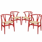 Modway Amish Dining Armchair Beech Wood Set of 4 in Red MY-EEI-1320-RED