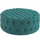 Modway Amour Upholstered Fabric Ottoman in Teal MY-EEI-2225-TEA