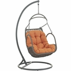 Modway Arbor Outdoor Patio Wicker Rattan Swing Chair in Orange MY-EEI-2279-ORA-SET