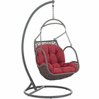Modway Arbor Outdoor Patio Wicker Rattan Swing Chair in Red MY-EEI-2279-RED-SET