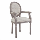 Modway Arise Vintage French Upholstered Fabric Dining Armchair in Beige MY-EEI-2796-BEI