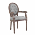 Modway Arise Vintage French Upholstered Fabric Dining Armchair in Light Gray MY-EEI-2796-LGR