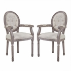 Modway Arise Vintage French Upholstered Fabric Dining Armchair Set of 2 in Beige MY-EEI-3106-BEI-SET