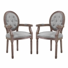 Modway Arise Vintage French Upholstered Fabric Dining Armchair Set of 2 in Light Gray MY-EEI-3106-LGR-SET