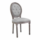 Modway Arise Vintage French Upholstered Fabric Dining Side Chair in Light Gray MY-EEI-2795-LGR
