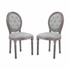 Modway Arise Vintage French Upholstered Fabric Dining Side Chair Set of 2 in Light Gray MY-EEI-3105-LGR-SET