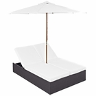 Modway Arrival Outdoor Patio Chaise in Espresso White MY-EEI-980-EXP-WHI