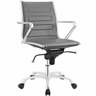Modway Ascend Mid Back Faux Leather Office Chair in Gray MY-EEI-2214-GRY