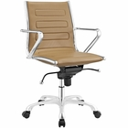 Modway Ascend Mid Back Faux Leather Office Chair in Tan MY-EEI-2214-TAN