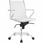 Modway Ascend Mid Back Faux Leather Office Chair in White MY-EEI-2214-WHI
