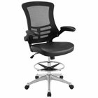 Modway Attainment Faux Leather Drafting Chair in Black MY-EEI-1422-BLK