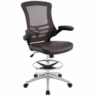 Modway Attainment Faux Leather Drafting Chair in Brown MY-EEI-1422-BRN