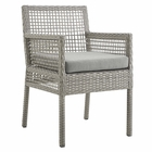 Modway Aura Outdoor Patio Wicker Rattan Dining Armchair in Gray Gray MY-EEI-2920-GRY-GRY