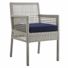 Modway Aura Outdoor Patio Wicker Rattan Dining Armchair in Gray Navy MY-EEI-2920-GRY-NAV