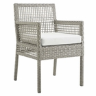 Modway Aura Outdoor Patio Wicker Rattan Dining Armchair in Gray White MY-EEI-2920-GRY-WHI