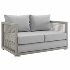 Modway Aura Outdoor Patio Wicker Rattan Loveseat in Gray Gray MY-EEI-2924-GRY-GRY