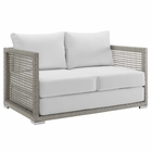 Modway Aura Outdoor Patio Wicker Rattan Loveseat in Gray White MY-EEI-2924-GRY-WHI