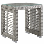 Modway Aura Outdoor Patio Wicker Rattan Side Table in Gray MY-EEI-2922-GRY