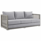 Modway Aura Outdoor Patio Wicker Rattan Sofa in Gray Gray MY-EEI-2923-GRY-GRY