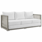 Modway Aura Outdoor Patio Wicker Rattan Sofa in Gray White MY-EEI-2923-GRY-WHI