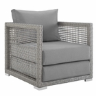 Modway Aura Rattan Outdoor Patio Armchair in Gray Gray MY-EEI-2918-GRY-GRY