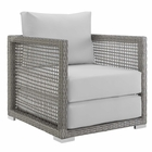Modway Aura Rattan Outdoor Patio Armchair in Gray White MY-EEI-2918-GRY-WHI