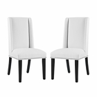 Modway Baron Parsons Dining Chairs Faux Leather Set of 2 in White MY-EEI-2747-WHI-SET