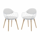 Modway Basket Dining Chairs Metal Wire and Faux Leather Set of 2 in White MY-EEI-2409-WHI-WHI-SET