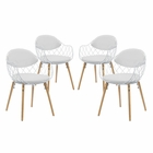 Modway Basket Dining Chairs Metal Wire and Faux Leather Set of 4 in White MY-EEI-2410-WHI-WHI-SET